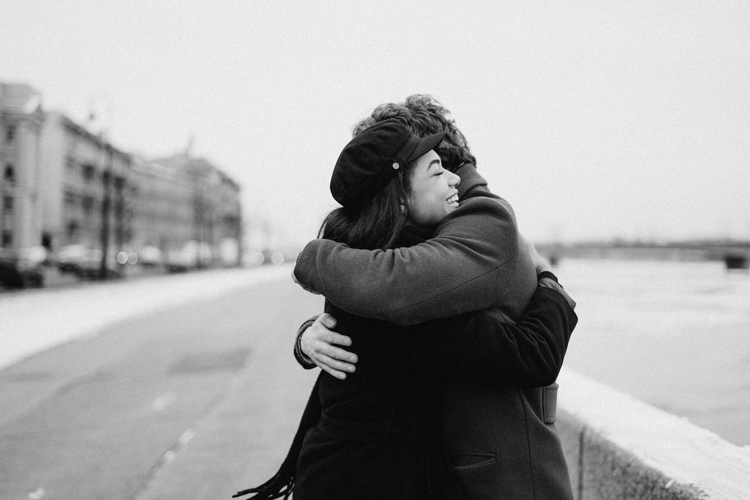 husband and wife hugging